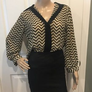 Striped black and white work blouse